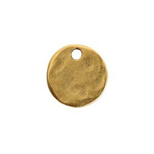 Hammered Flat Tag Mini Circle Single LoopAntique Gold