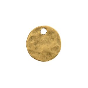 Hammered Flat Tag Mini Circle Single LoopAntique Gold