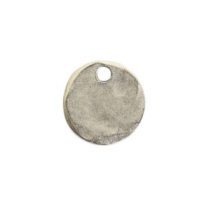 Hammered Flat Tag Mini Circle Single Loop<br>Antique Silver