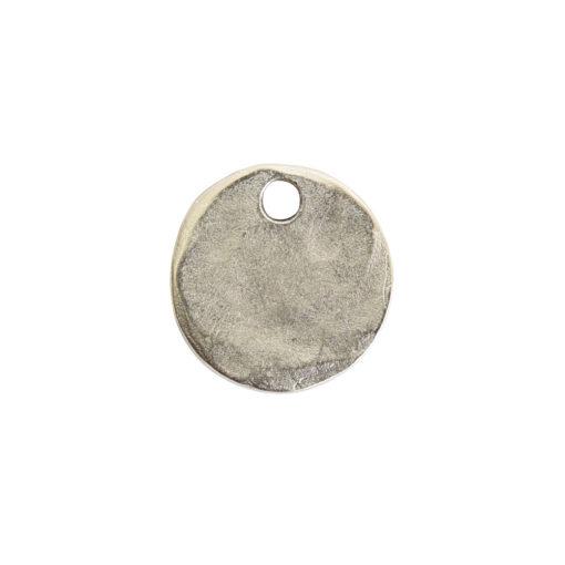 Hammered Flat Tag Mini Circle Single LoopAntique Silver