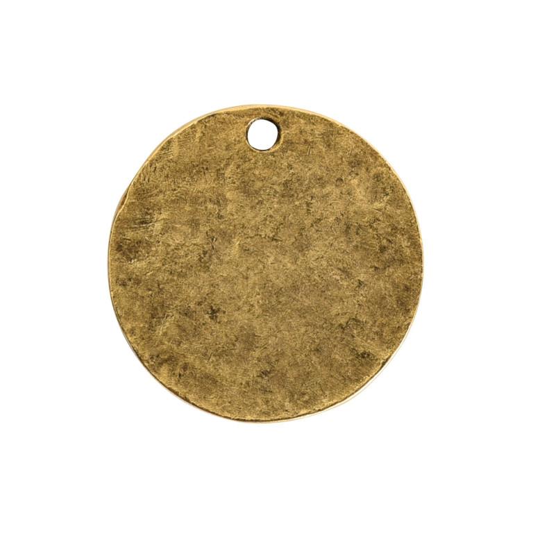 Hammered Flat Tag Small Circle Single LoopAntique Gold