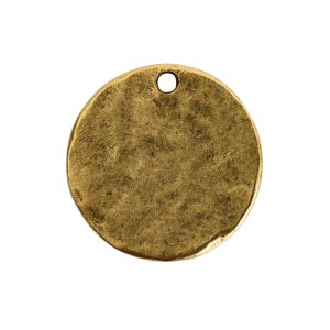 Hammered Flat Tag Small Circle Single LoopAntique Gold