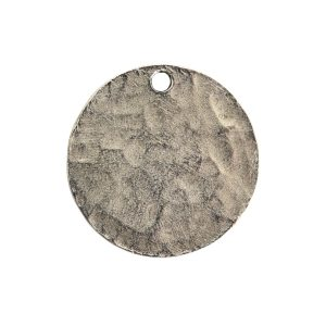 Hammered Flat Tag Small Circle Single LoopAntique Silver