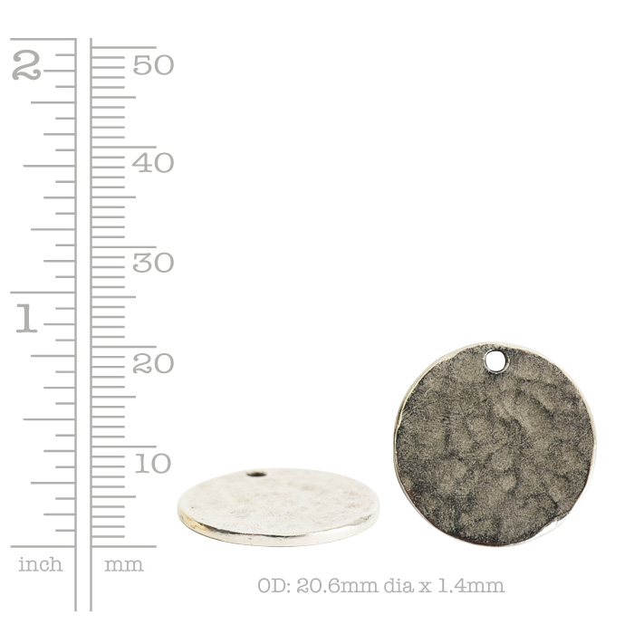 Hammered Flat Tag Small Circle Single LoopAntique Copper