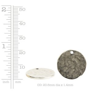Hammered Flat Tag Small Circle Single Loop<br>Antique Silver