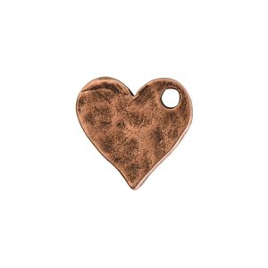 Hammered Flat Tag Mini Heart Single LoopAntique Copper