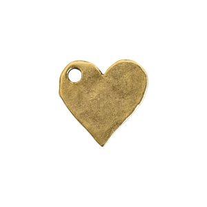 Hammered Flat Tag Mini Heart Single LoopAntique Gold