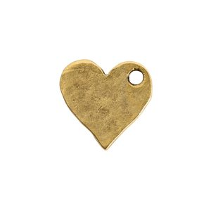 Hammered Flat Tag Mini Heart Single Loop<br>Antique Gold