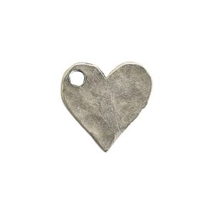 Hammered Flat Tag Mini Heart Single LoopAntique Silver