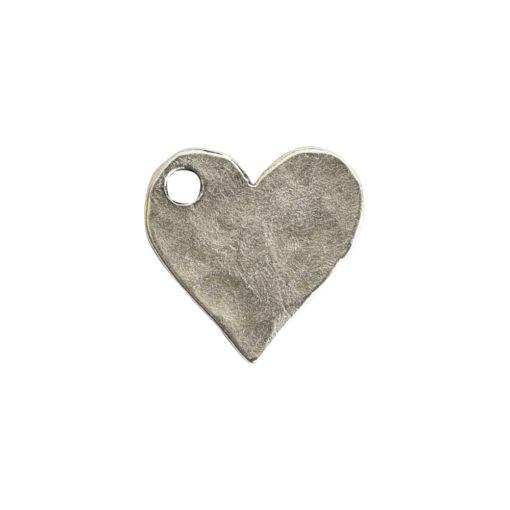 Hammered Flat Tag Mini Heart Single LoopAntique Silver