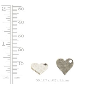 Hammered Flat Tag Mini Heart Single Loop<br>Antique Silver