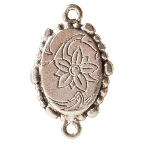Ornate Mini Pendant Oval Double Loopl Antique Silver