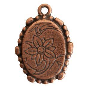 Ornate Mini Pendant Oval Single Loop <br>Antique Copper
