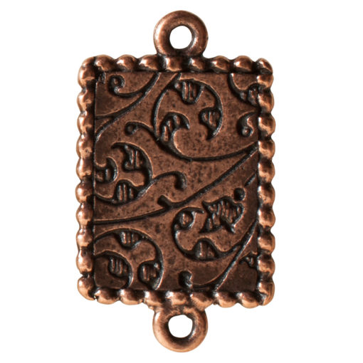 Ornate Mini Pendant Rectangle Double Loop Antique Copper