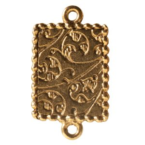 Ornate Mini Pendant Rectangle Double Loop Antique Gold