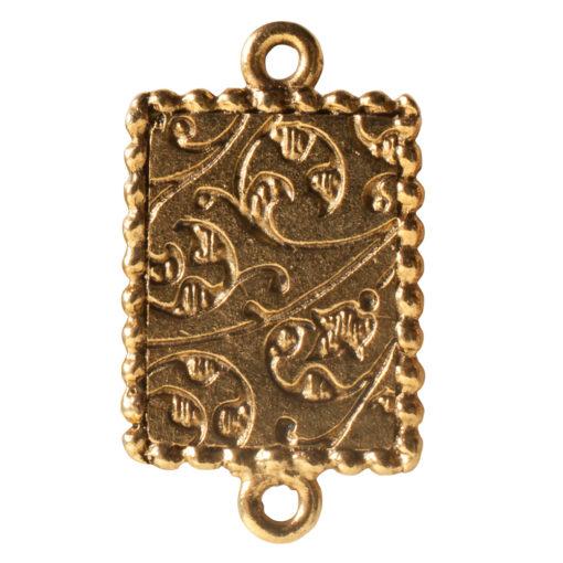 Ornate Mini Pendant Rectangle Double Loop Antique Gold