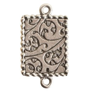 Ornate Mini Pendant Rectangle Double Loop Antique Silver