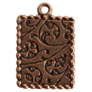 Ornate Mini Pendant Rectangle Single Loop Antique Copper