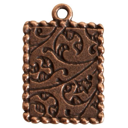 Ornate Mini Pendant Rectangle Single Loop Antique Copper