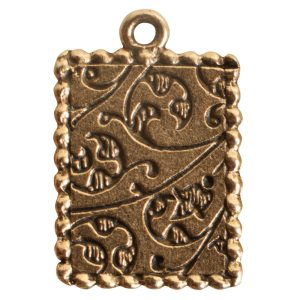 Ornate Mini Pendant Rectangle Single Loop Antique Gold