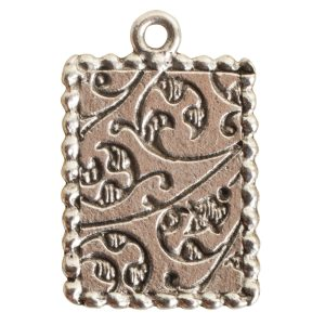 Ornate Mini Pendant Rectangle Single Loop Antique Silver