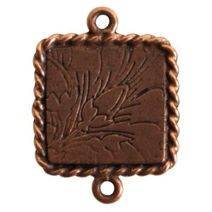 Ornate Mini Pendant Square Double Loop Antique Copper