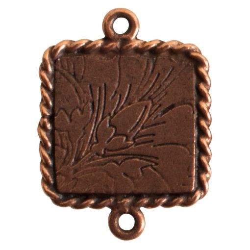 Ornate Mini Pendant Square Double Loop Antique Copper