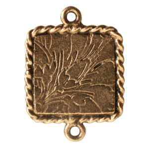 Ornate Mini Pendant Square Double Loop Antique Gold