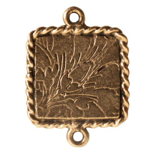 Ornate Mini Pendant Square Double Loop Antique Gold