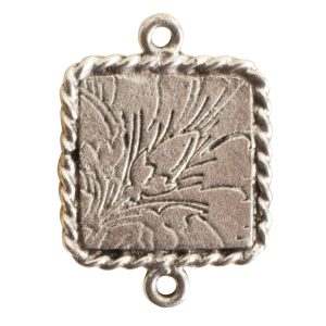 Ornate Mini Pendant Square Double Loop Antique Silver