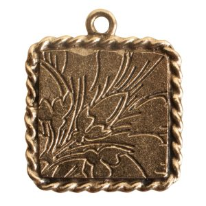 Ornate Mini Pendant Square Single Loop Antique Gold