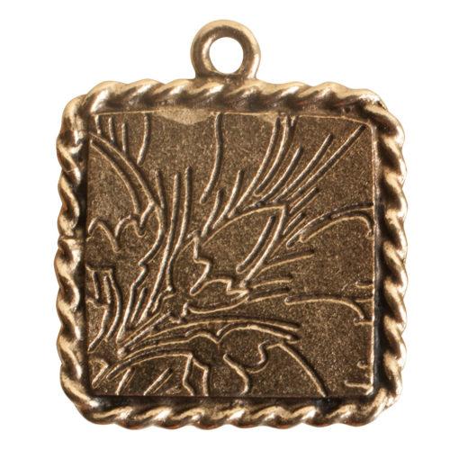 Ornate Mini Pendant Square Single Loop Antique Gold