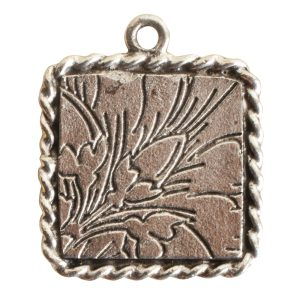 Ornate Mini Pendant Square Single Loop Antique Silver
