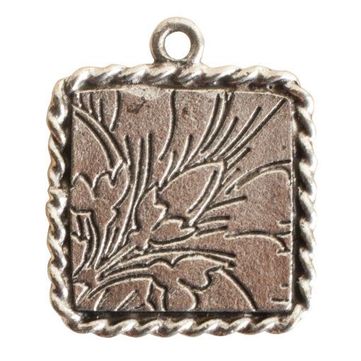 Ornate Mini Pendant Square Single Loop Antique Silver