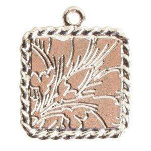 Ornate Mini Pendant Square Single Loop Sterling Silver Plate