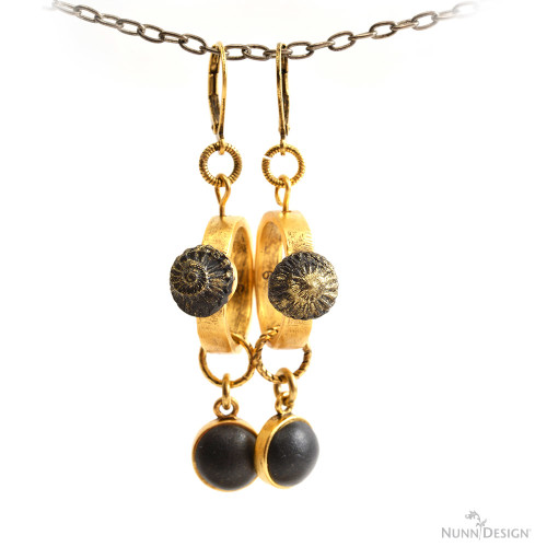 For this pair of earrings, I used the stacking ring as the focal. I punched a hole on the top using a pair of Hole Punch Pliers and threaded in a Headpin that I looped to connect to the 6mm Textured Jump Ring and Leverback Earwire. The focal is created by pressing Crystal Clay-Black into a Silicone Mold that was brushed with a gold PearlEx Mica Powder prior to making the sculpted relief impression. Pretty elegant looking, don't you think?