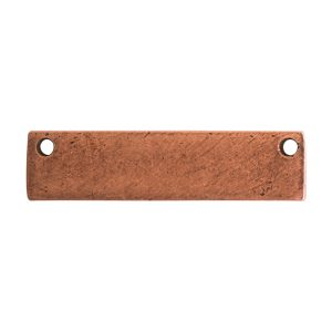 Flat Tag Small Rectangle Horizontal Double Hole<br>Antique Copper