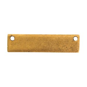 Flat Tag Small Rectangle Horizontal Double Hole<br>Antique Gold