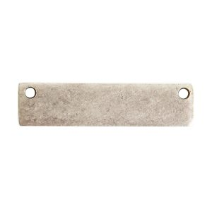Flat Tag Small Rectangle Horizontal Double Hole<br>Antique Silver