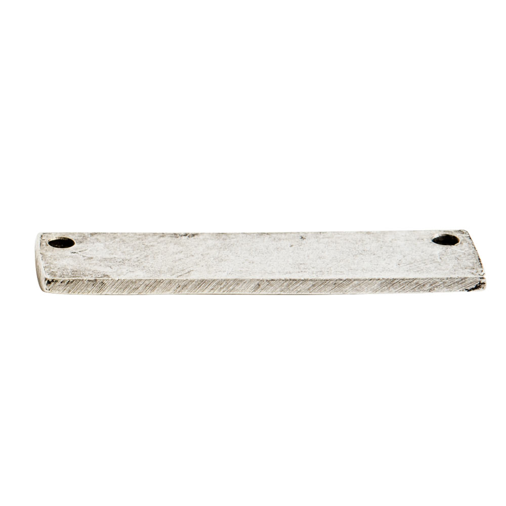 Flat Tag Small Rectangle Horizontal Double HoleAntique Silver