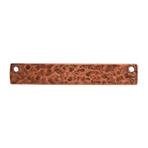 Hammered Flat Tag Long Narrow Horizontal Double HoleAntique Copper