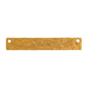 Hammered Flat Tag Long Narrow Horizontal Double Hole<br>Antique Gold