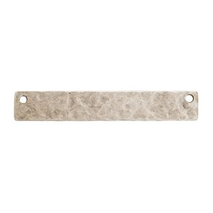 Hammered Flat Tag Long Narrow Horizontal Double Hole<br>Antique Silver