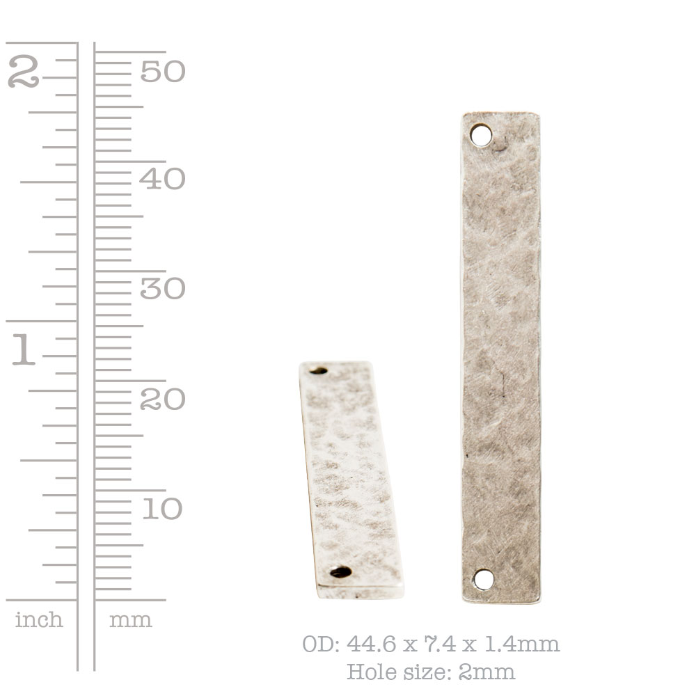 Hammered Flat Tag Long Narrow Horizontal Double HoleAntique Silver