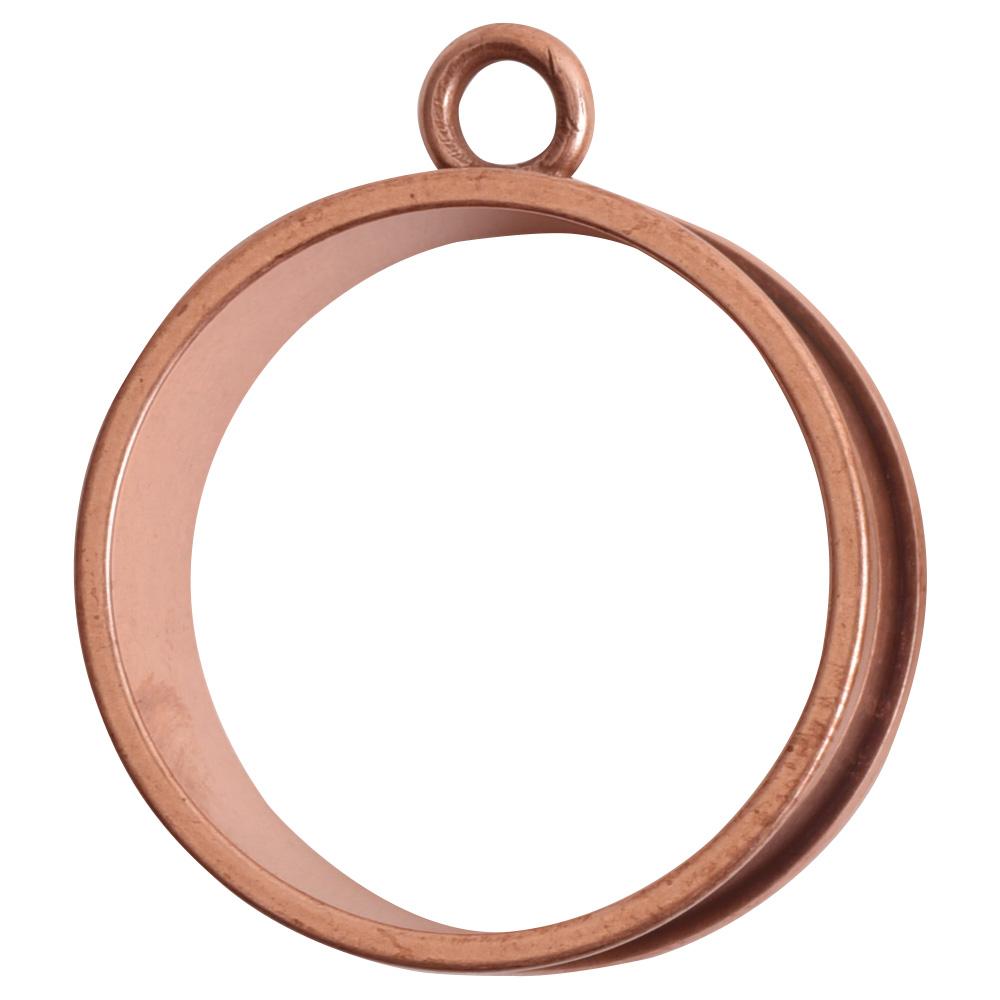 Open Bezel Channel Deep Large Circle Single LoopAntique Copper