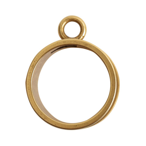 Open Bezel Channel Deep Small Circle Single LoopAntique Gold
