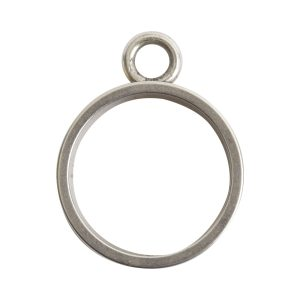Open Bezel Channel Deep Small Circle Single LoopAntique Silver