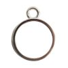 Open Bezel Channel Deep Small Circle Single Loop<br>Sterling Silver Plate