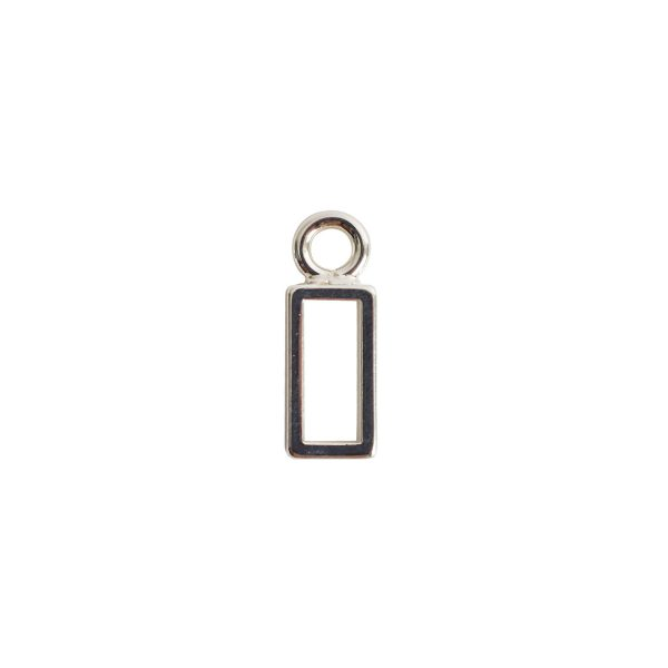 Open Frame Itsy Rectangle Single LoopSterling Silver Plate