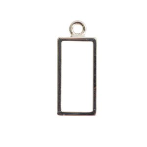 Open Frame Large Rectangle Single LoopSterling Silver Plate